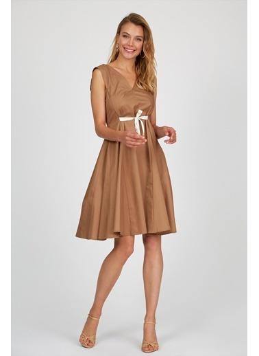 Setre Kahverengi V Yaka Volanlı Elbise Kahve